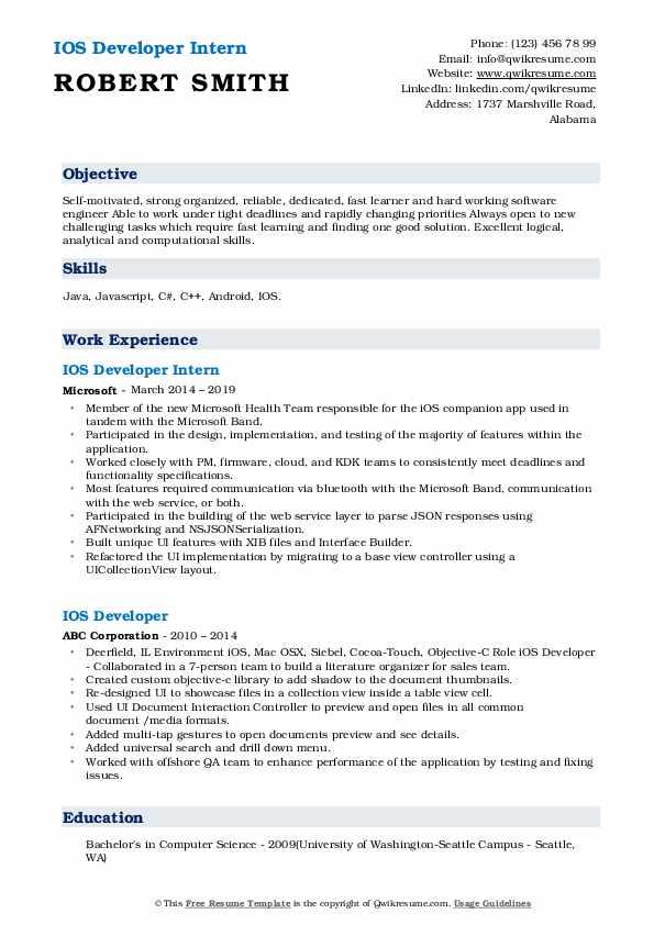 IOS Developer Intern Resume Model