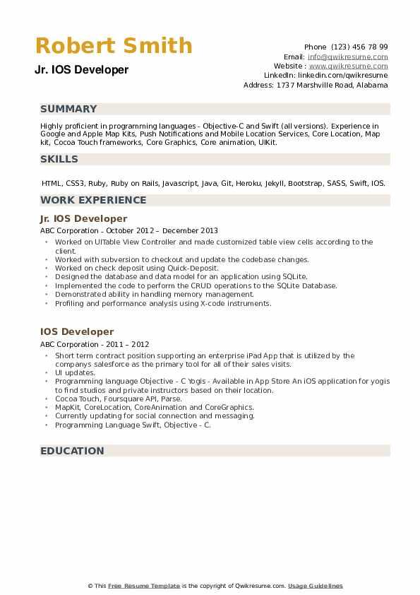 Jr. IOS Developer Resume Model