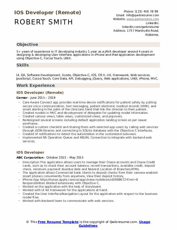 IOS Developer (Remote) Resume Example