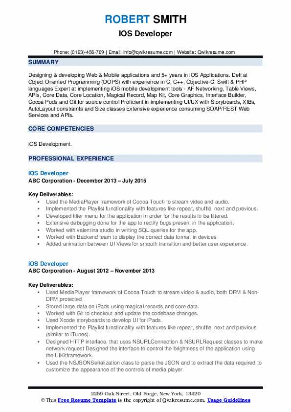 IOS Developer Resume example