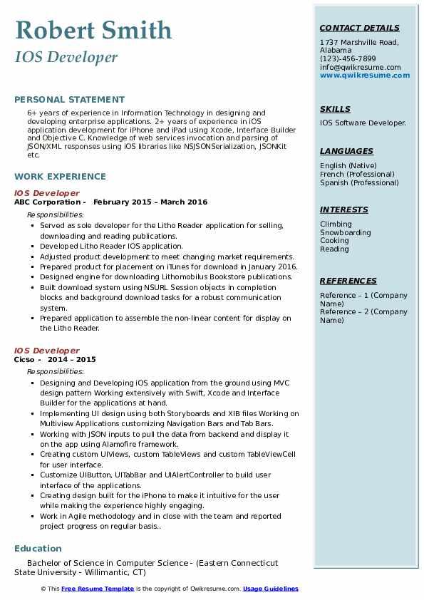 Freelance Consultant I Resume Model