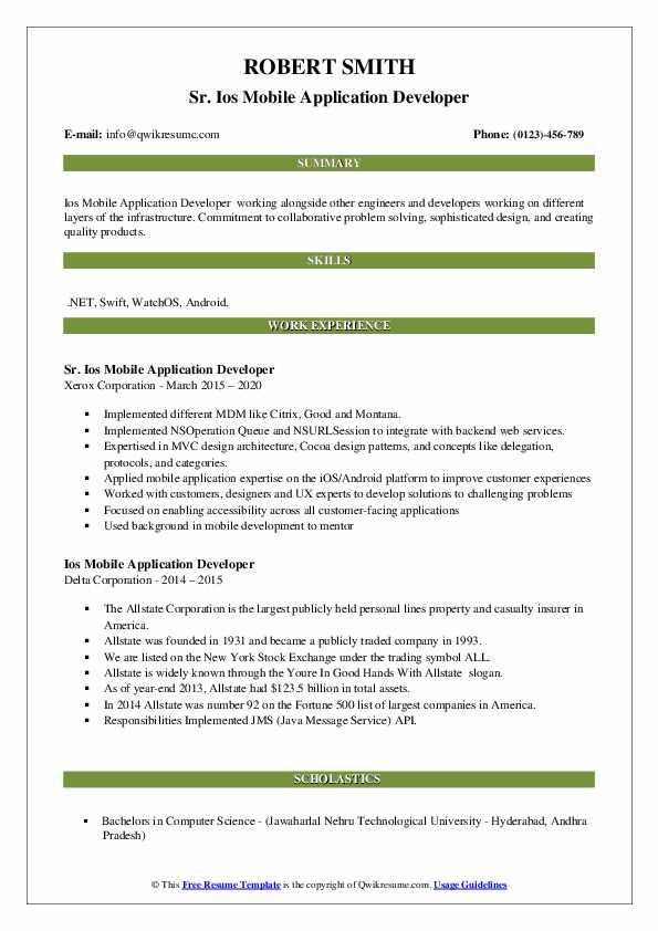 ios mobile application developer resume samples  qwikresume