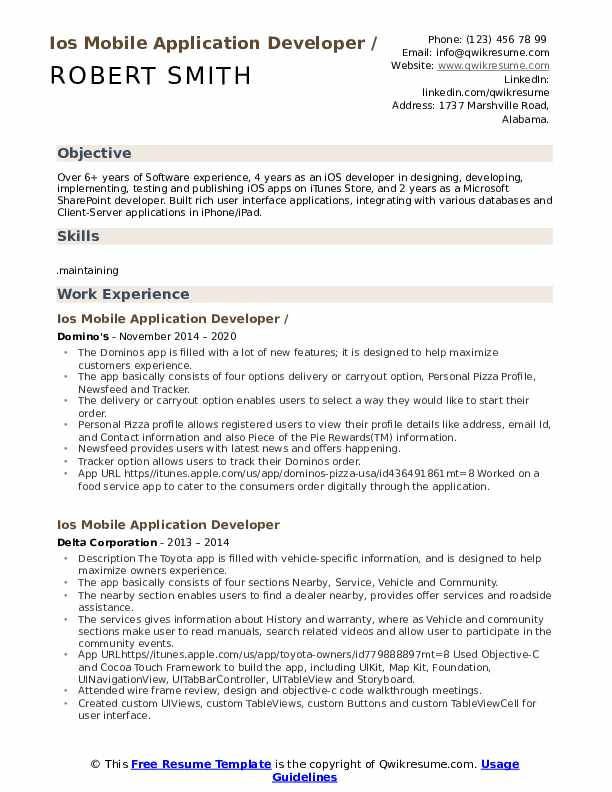 IOS Mobile Application Developer Resume example
