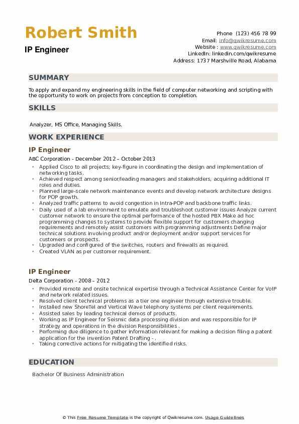 IP Engineer Resume example