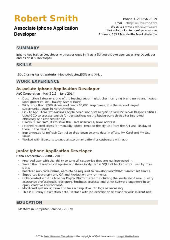 Iphone Application Developer Resume example