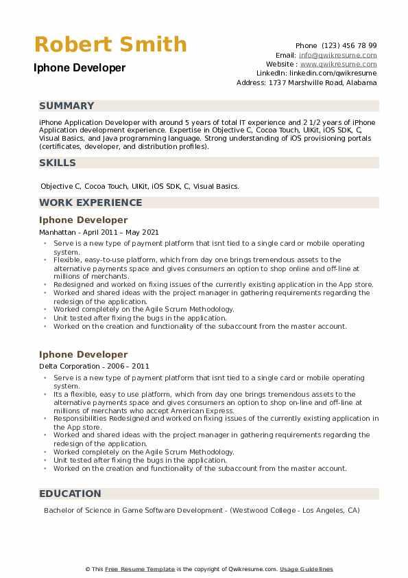 Iphone Developer Resume example