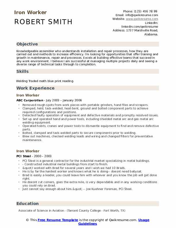 Iron Worker Resume Template