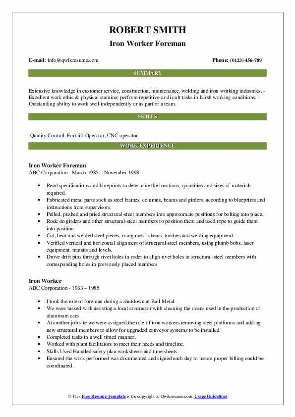 Iron Worker Foreman Resume Model