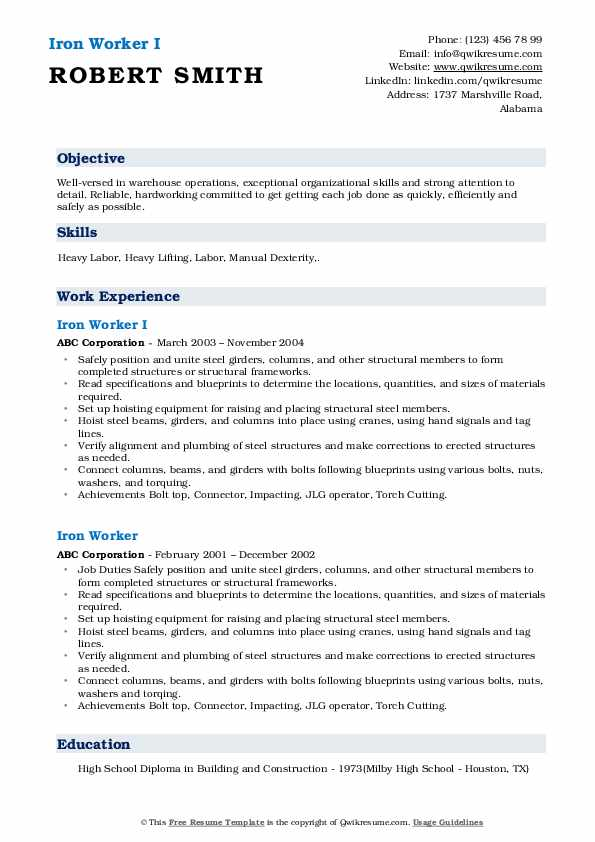 Iron Worker I Resume Template