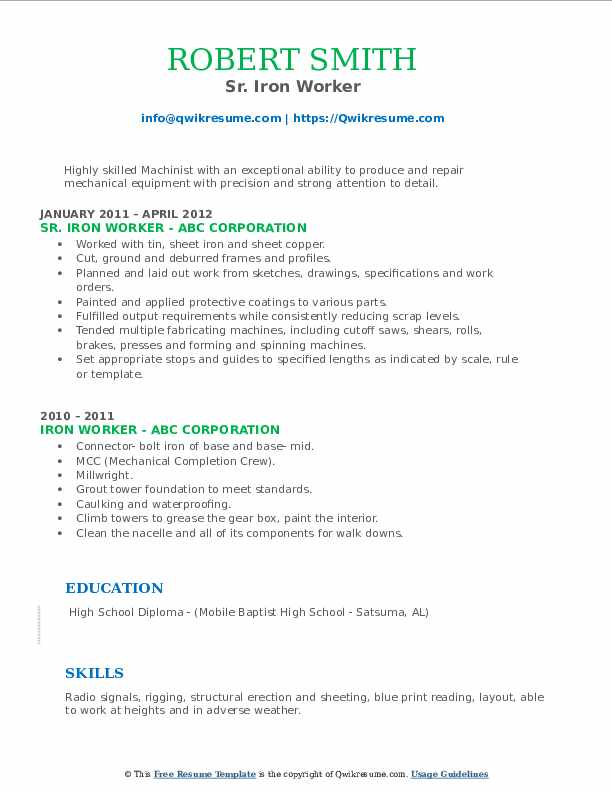 Sr. Iron Worker Resume Format