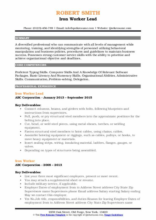 Iron Worker Lead Resume Format