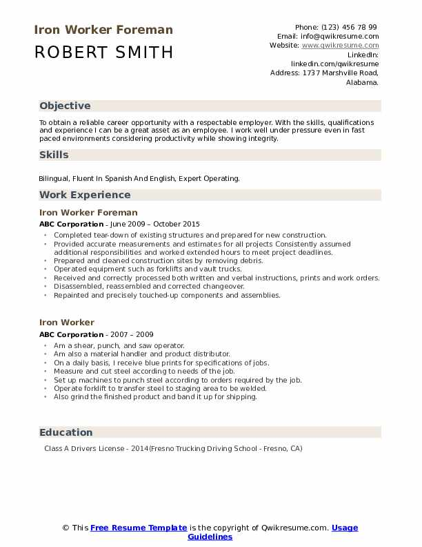 Iron Worker Foreman Resume Template