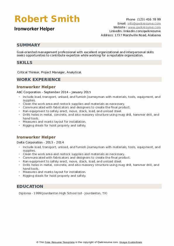 Ironworker Helper Resume example