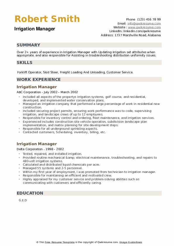 Irrigation Manager Resume example