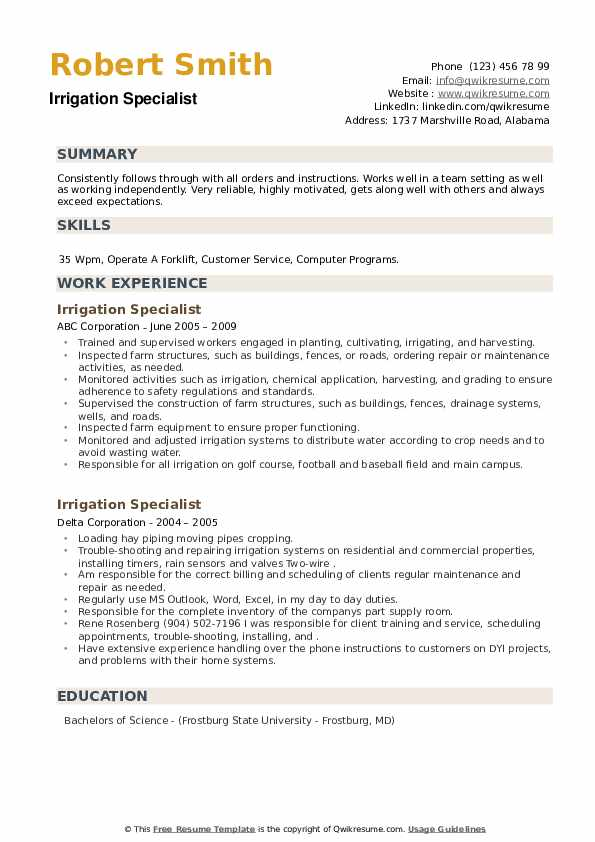 Irrigation Specialist Resume example