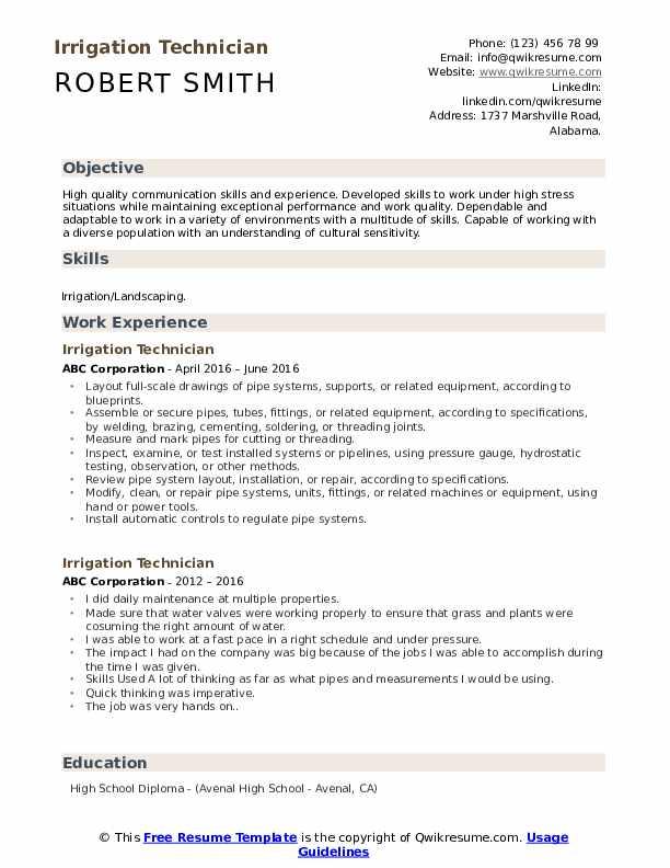 Irrigation Technician Resume Example