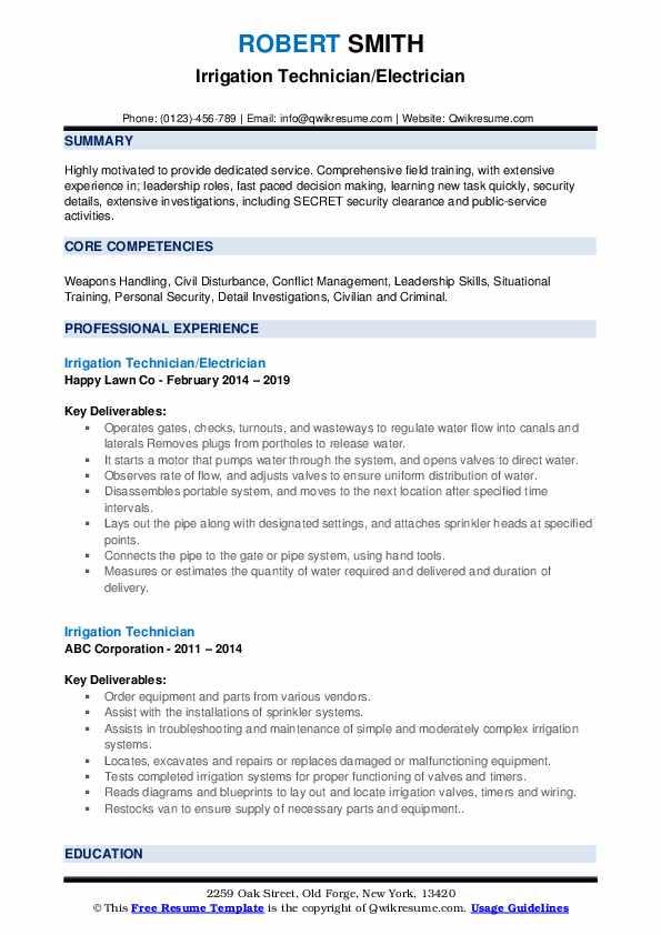 Irrigation Technician/Electrician Resume Template