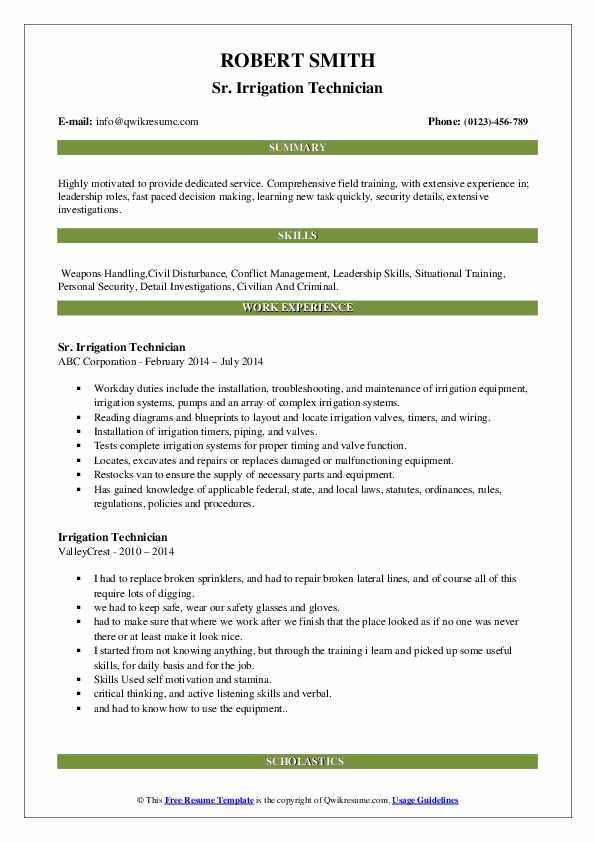 Sr. Irrigation Technician Resume Model