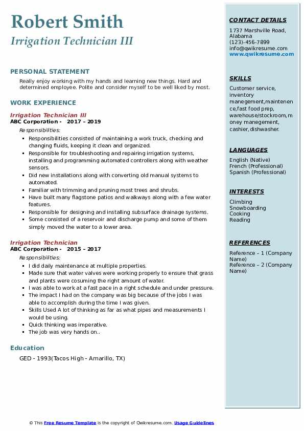 Irrigation Technician III Resume Sample