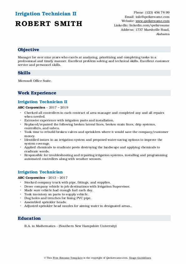 irrigation technician resume samples