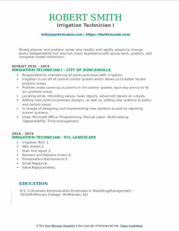 Irrigation Technician I Resume Sample