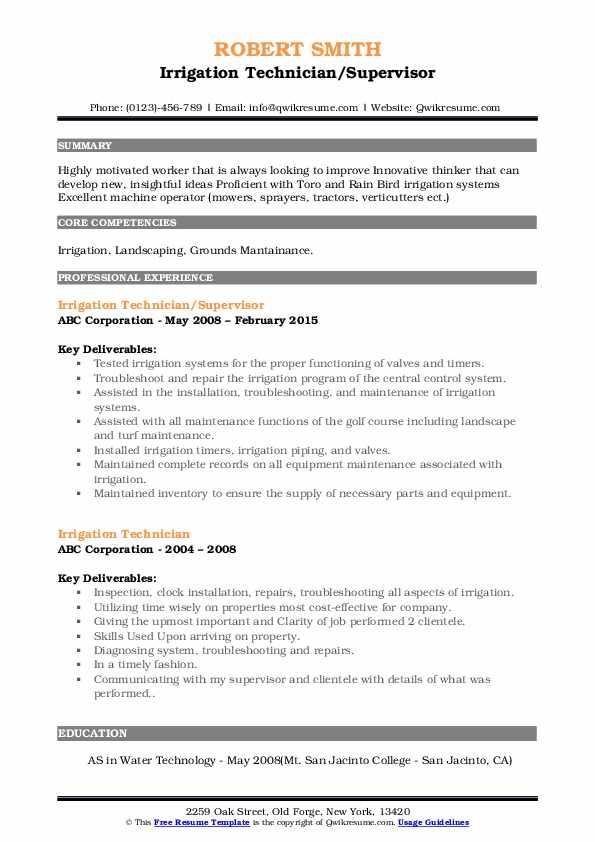 Irrigation Technician/Supervisor Resume Example