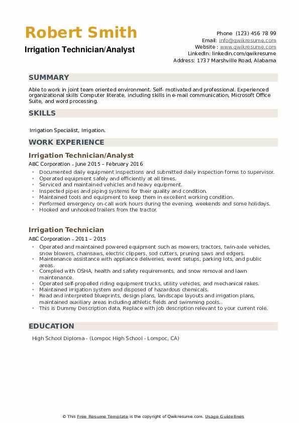 Irrigation Technician/Analyst Resume Model