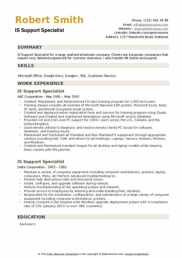 IS Support Specialist Resume example