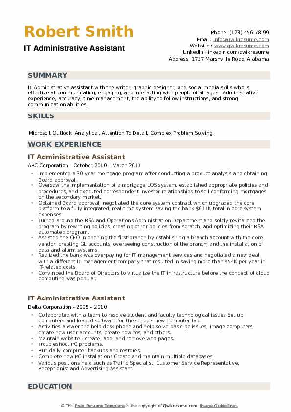 IT Administrative Assistant Resume example