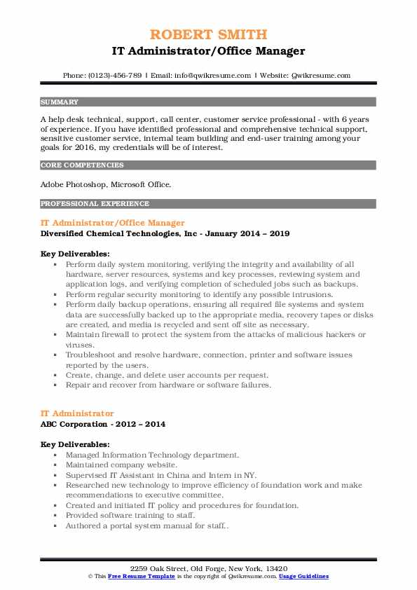 IT Administrator Resume Samples