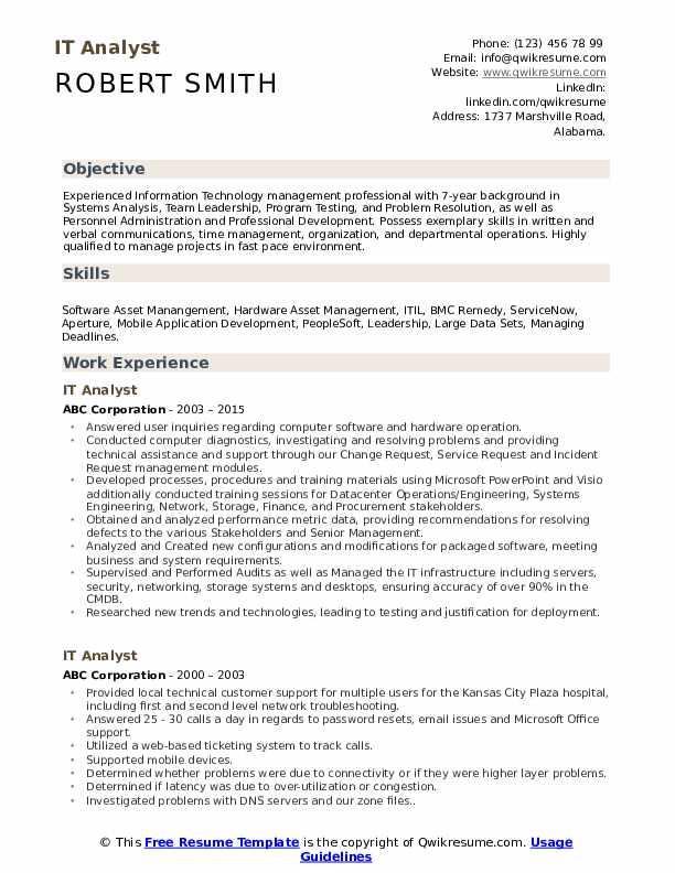 IT Analyst Resume Sample