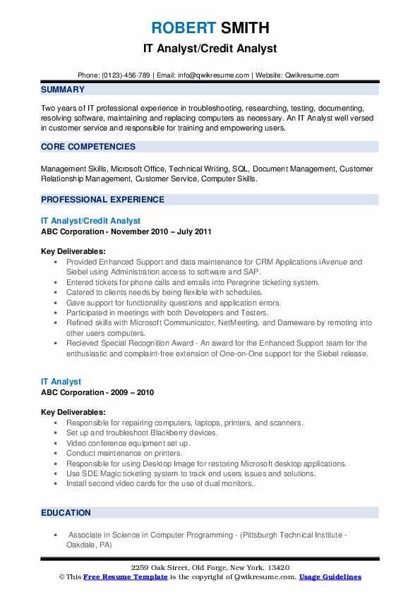 IT Analyst/Credit Analyst Resume Format