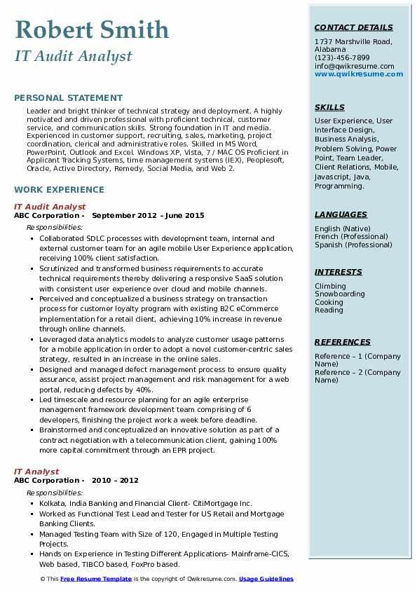 IT Audit Analyst Resume Model