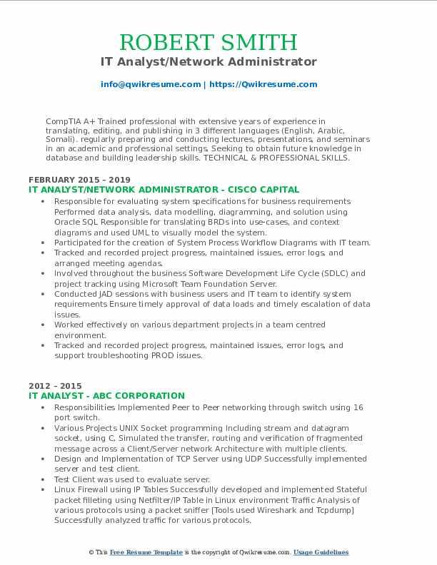 IT Analyst/Network Administrator Resume Model