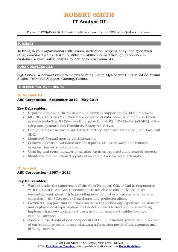 IT Analyst III Resume Sample