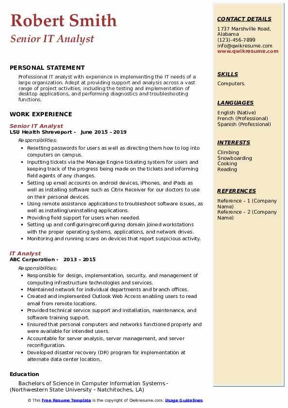 Senior IT Analyst Resume Sample