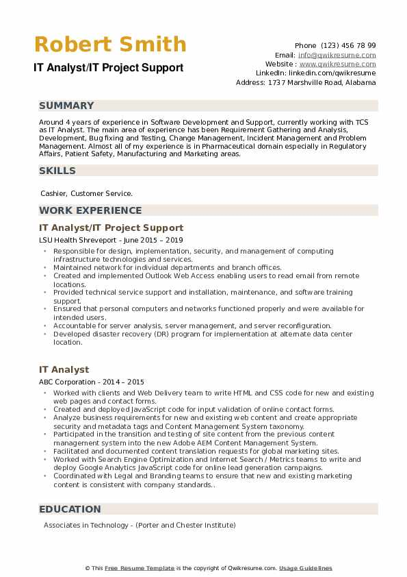 IT Analyst/IT Project Support Resume Example