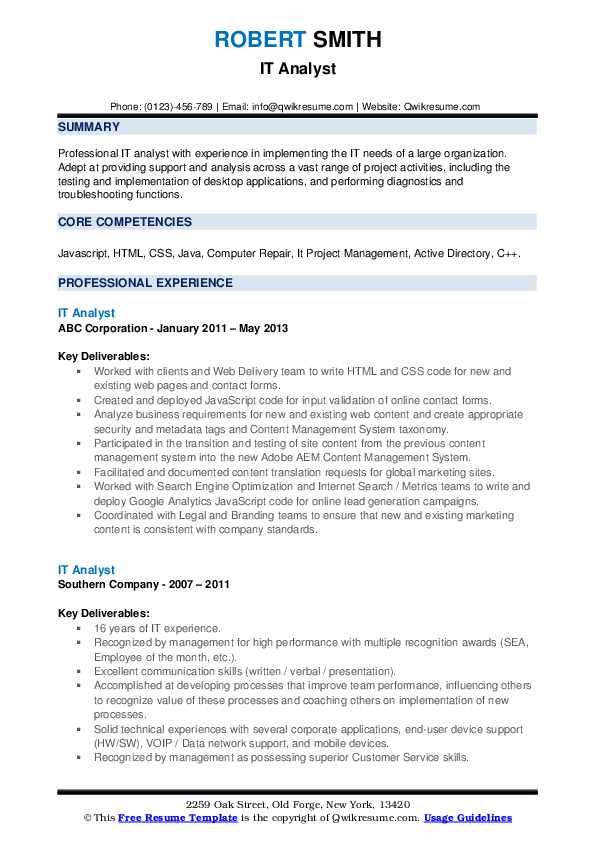 IT Analyst Resume example