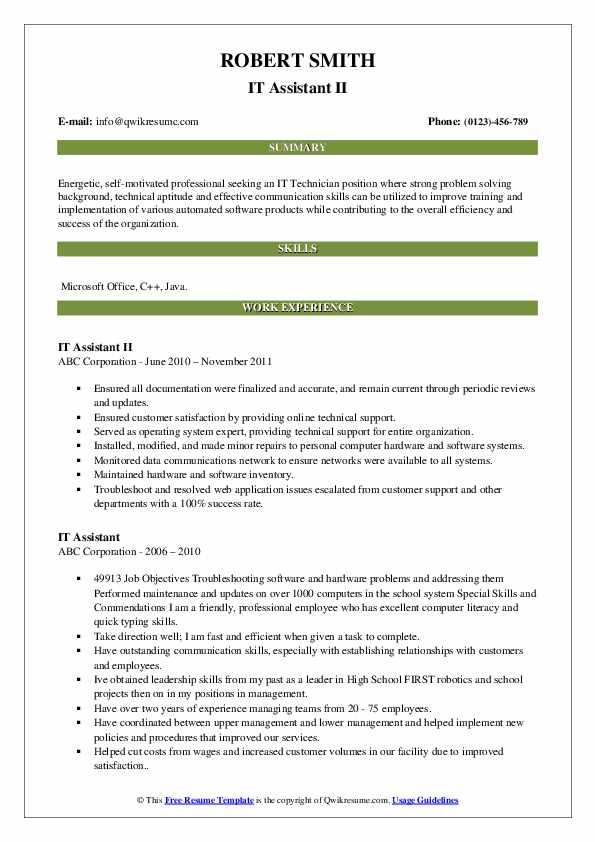 IT Assistant II Resume Model