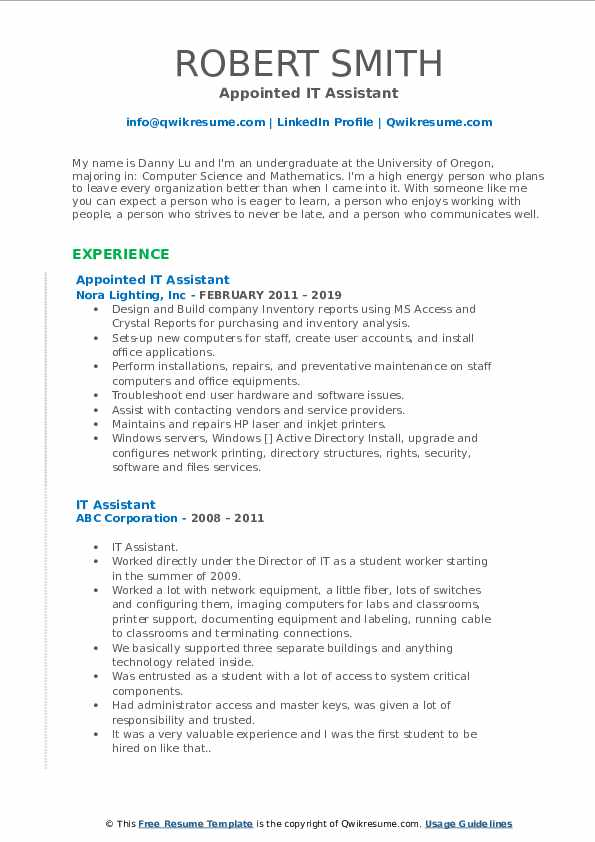 Appointed IT Assistant Resume Format