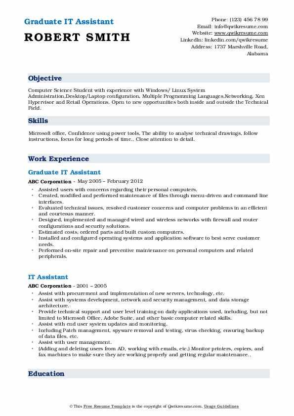 Graduate IT Assistant Resume Example