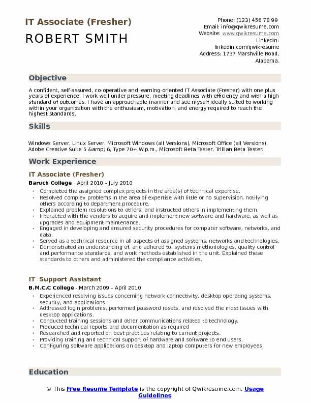 It Associate Resume Samples Qwikresume