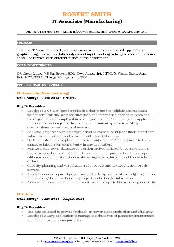 IT Associate (Manufacturing) Resume Template