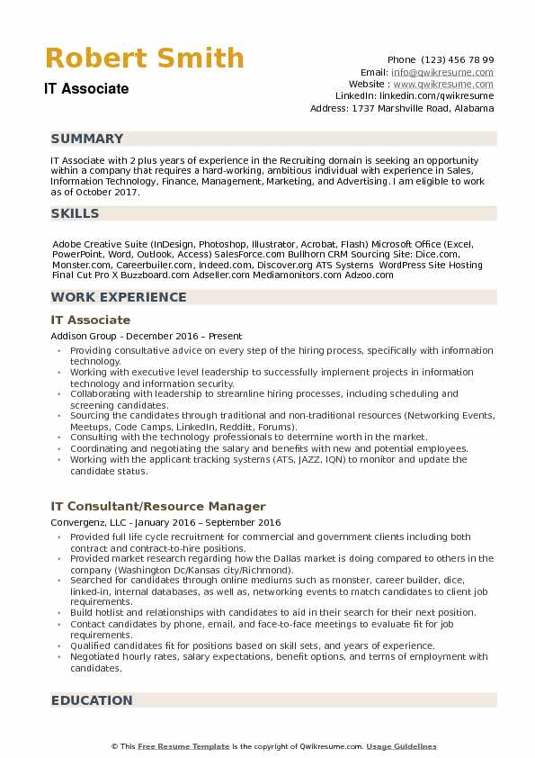 it associate resume samples