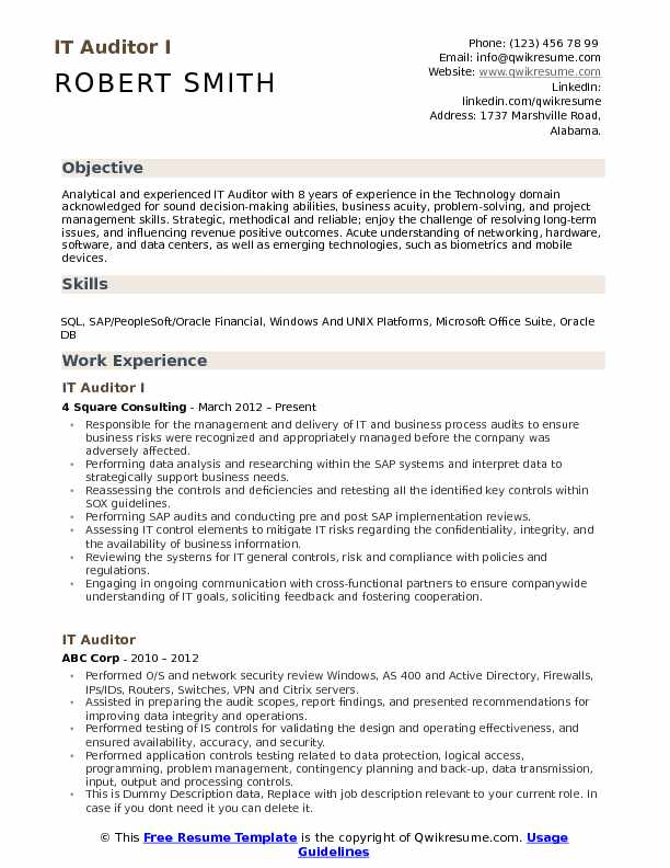 IT Auditor I Resume Template
