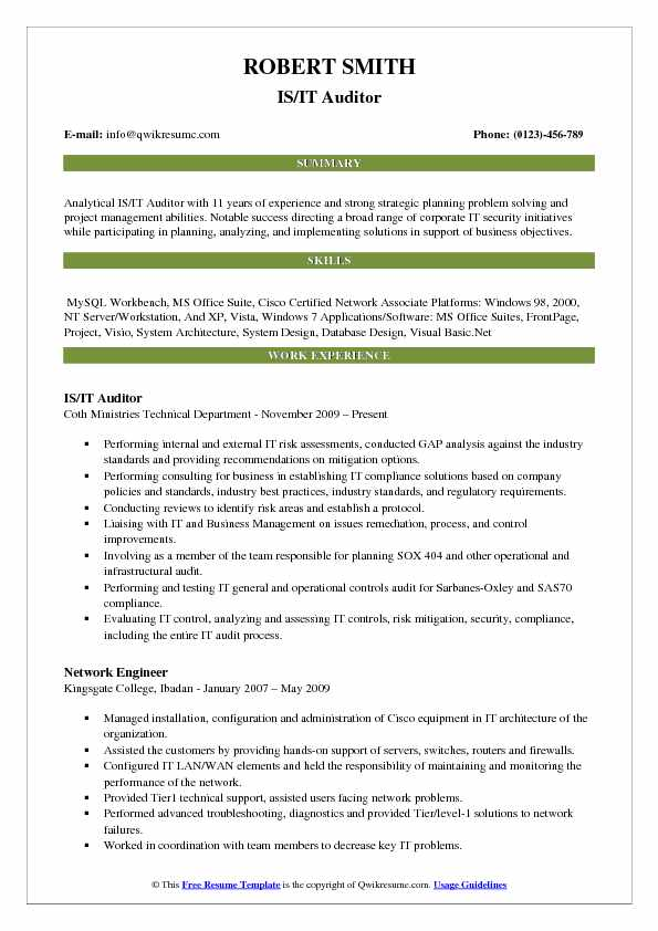 IS/IT Auditor Resume Example