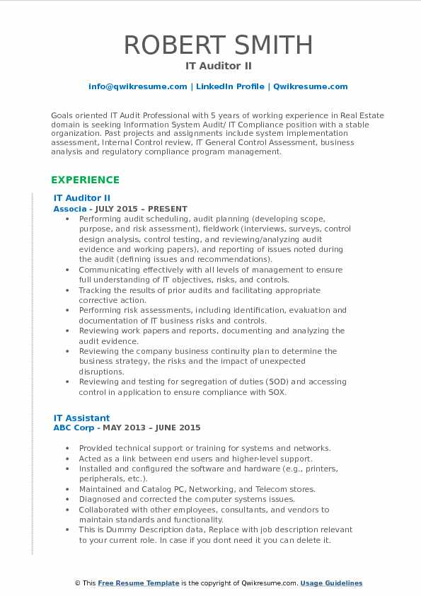 IT Auditor II Resume Format