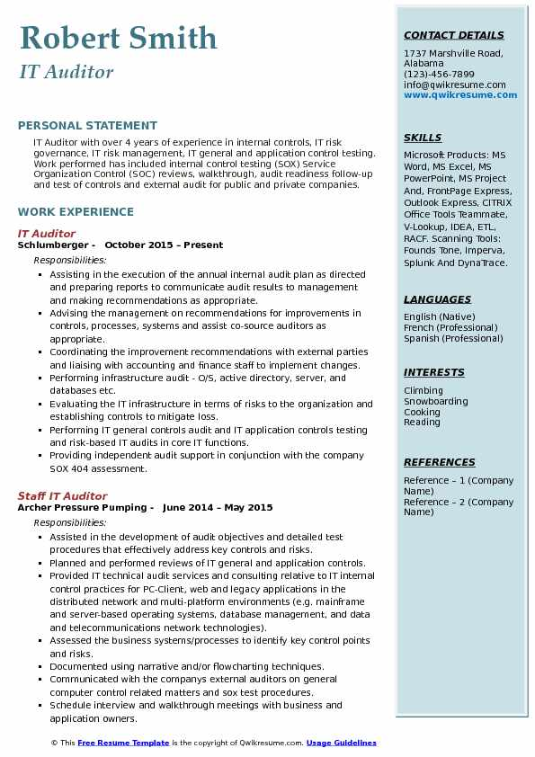 IT Auditor Resume Model