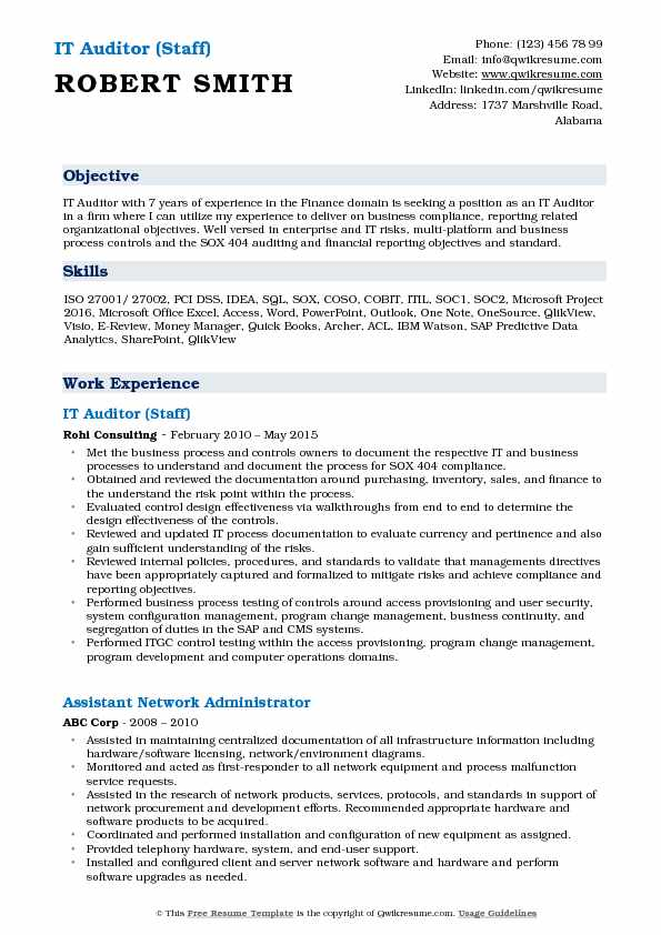 IT Auditor (Staff) Resume Format