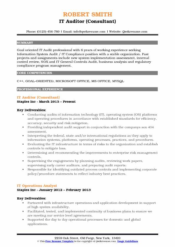 IT Auditor (Consultant) Resume Format